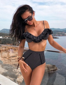 Fashion Black High Waist Wave Point Ruffled One Shoulder Shoulder Swimsuit
