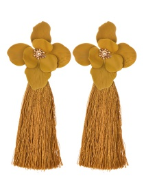 Fashion Ginger Yellow Alloy Long Fringed Flower Earrings