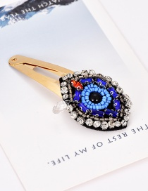 Fashion Blue Alloy Resin Rhinestone Eye Hair Clip