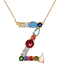 Fashion Gold Copper Inlaid Zircon Letter Z Necklace