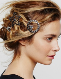 Fashion Round Hair Clip Alloy Geometry Hair Clip Set