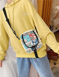 Fashion White Cartoon Canvas Pig Shoulder Bag