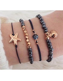 Fashion Gun Color Alloy Gun Color Shell Starfish Bracelet Set