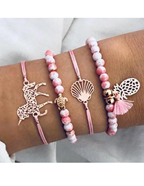 Fashion Pink Alloy Wax Rope Resin Pineapple Turtle Bracelet Set