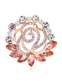 Fashion Orange Diamond Glass Drip Flower Pin Scarf Buckle Dual Purpose