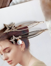 Fashion Gold Diamond-studded Five-pointed Star Clip