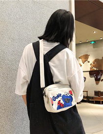 Fashion White Printed Cartoon Canvas Letter Pack Shoulder Bag