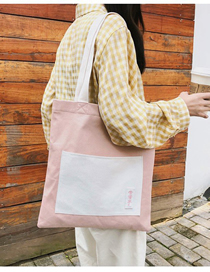 Fashion Pink Canvas Crossbody Tote Bag