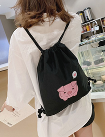 Fashion Black Printed Piglet Drawstring Backpack