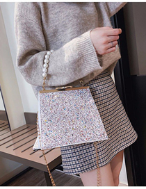 Fashion White Sequined Pearl Portable Crossbody Bag
