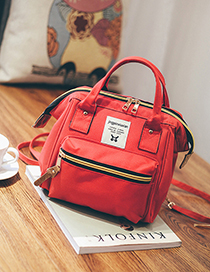 Fashion Red Canvas Backpack Shoudlder Bag
