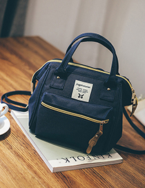 Fashion Navy Blue Canvas Backpack Shoudlder Bag