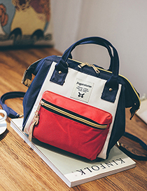 Fashion Red With Blue Canvas Backpack Shoudlder Bag