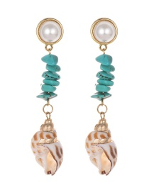 Fashion Gold Alloy Pearl Turquoise Conch Earrings