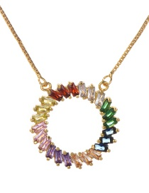 Fashion Gold Copper Inlaid Zircon Ring Necklace