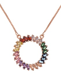 Fashion Rose Gold Copper Inlaid Zircon Ring Necklace