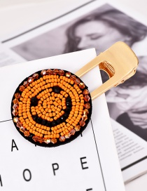 Fashion Gold Alloy Resin Rice Beads Smiley Hairpin