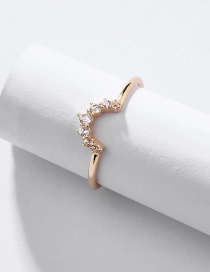 Fashion Gold Alloy Inlaid Zircon Ring