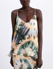 Fashion Color Tie Dyed Printed Sling Dress