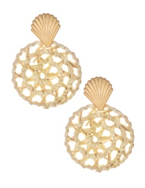 Fashion Gold Alloy Shell Rattan Round Earrings