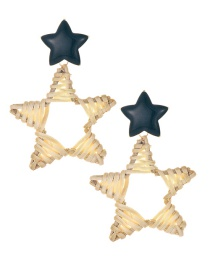 Fashion Beige Alloy Five-pointed Star Rattan Earrings
