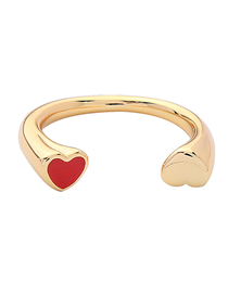 Fashion Love Heart-shaped Drip Oil Opening Ring