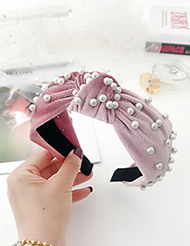 Fashion Leather Powder Fabric Multicolor Pearl Headband