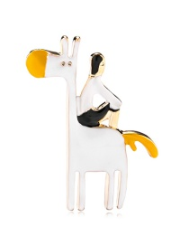 Fashion Color Alloy Dripping White Horse Brooch