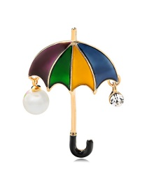 Fashion Color Alloy Drop Oil Pearl Umbrella Brooch