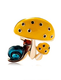 Fashion Yellow Alloy Drop Oil And Diamond Mushroom Snail Brooch