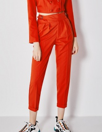 Fashion Red Buckle Trousers