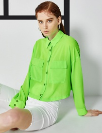 Fashion Fluorescent Green Single-breasted Shirt