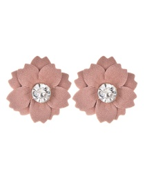 Fashion Leather Pink Cloth And Diamond Flower Earrings