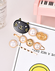 Fashion Black Alloy Pearl Cat Hair Clip Set