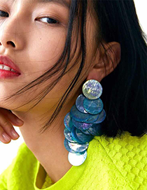 Fashion Blue Alloy Shell Round Overlapping Earrings