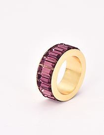 Fashion Light Purple Alloy Diamond Ring
