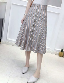 Fashion Gray High-waisted Striped Single-breasted Skirt