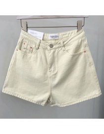 Fashion Apricot Washed A Word Denim Shorts