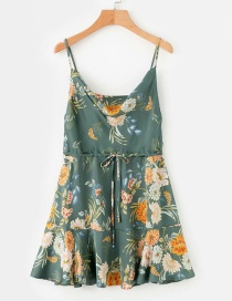 Fashion Green Floral Print Sling Open Back Lace Dress