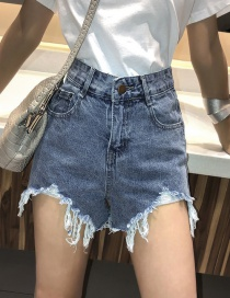 Fashion Blue Washed High-waisted Denim Shorts