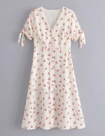 Fashion Beige Cherry Print V Leaders With Front Buckle Dress