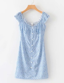 Fashion Blue Floral Single-breasted Dress