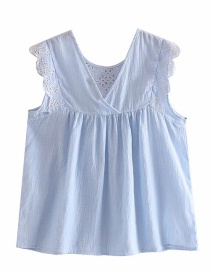 Fashion Blue Striped Ruffled Openwork Embroidered Shirt