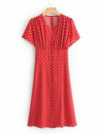 Fashion Red V-neck Single-breasted Dress