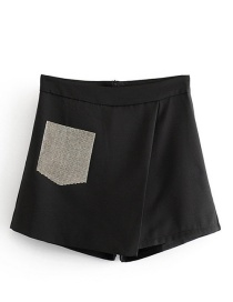 Fashion Black Drill Pocket Beveled A Shorts