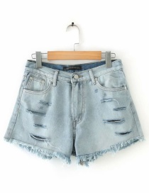 Fashion Blue Washed Hole High Waist Denim Raw Shorts