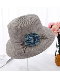 Fashion Gray Flower Curved Pot Hat
