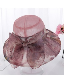 Fashion Leather Powder Bow Color Matching Flower Cloth Big Hat