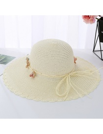 Fashion Creamy-white Small Lace Big Straw Hat