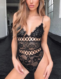 Fashion Black Sling Openwork Lace Jumpsuit